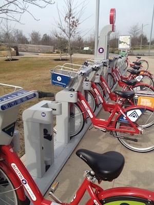 Austin B-cycle station near the Pfluger Pedestrian Bridge