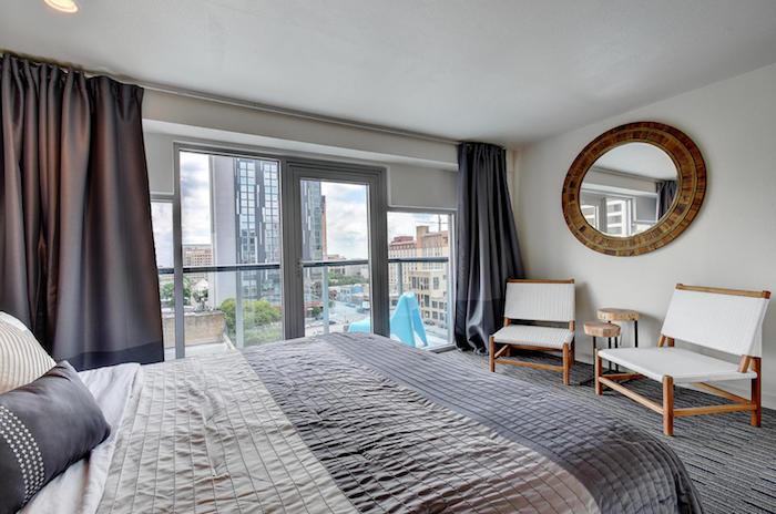 Top Trip Rentals bedroom view at 119 E. 6th Street Austin, TX