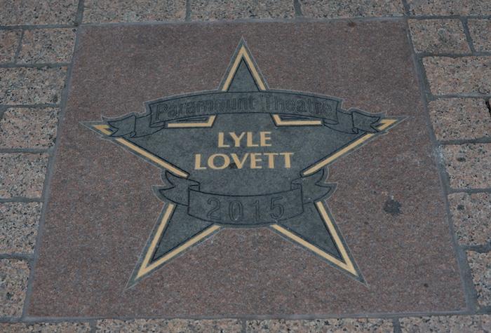 Sidewalk star at Austin's Paramount Theatre honoring singer Lyle Lovett